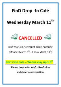 FinD Drop-In Cafe cancellation notice