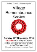 2018 ONLY Remembrance Day Service Poster (Buckden)1