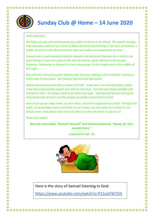 Sunday Club Newsletter - 14 June1
