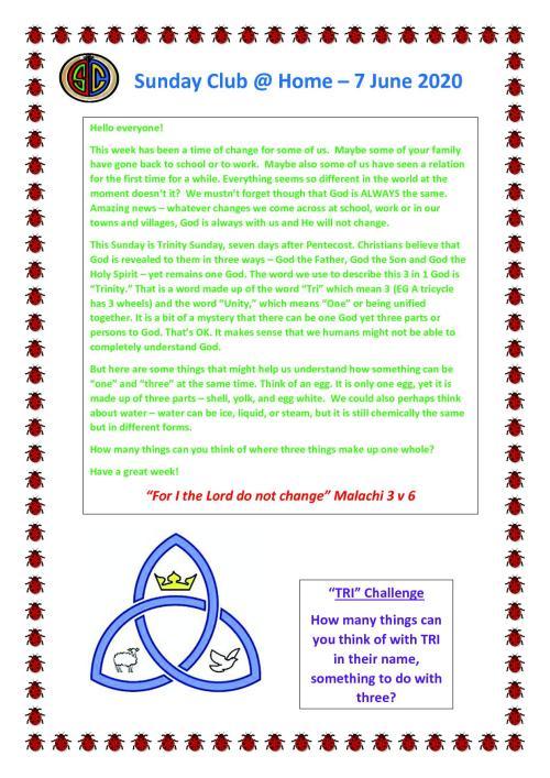 Sunday Club Newsletter - 7 June1