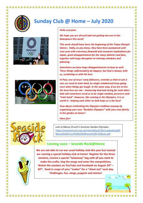 Sunday Club Newsletter - 5 July1